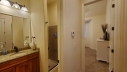 Guest bathroom off guest bedroom and hallway.